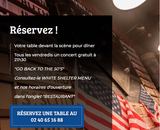 reserver une table au white shelter
